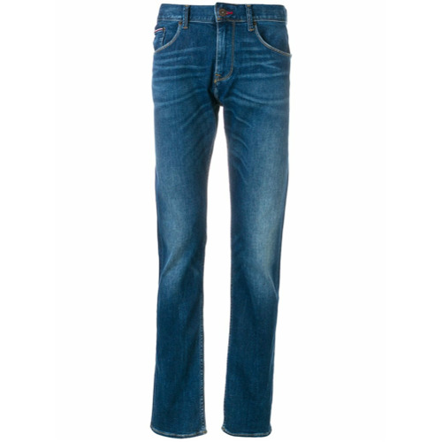 Calça jeans slim fit azul em algodão misto , Tommy Hilfiger.
