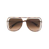 Chloé Eyewear Óculos De Sol 'poppy' - Brown