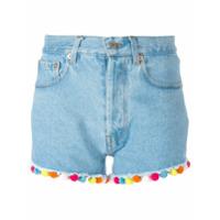 Forte Dei Marmi Couture Shorts Jeans Com Pompom - Azul
