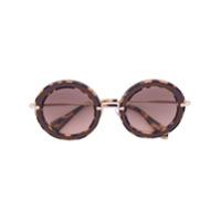 Miu Miu Eyewear Óculos De Sol Armação Redonda - Brown