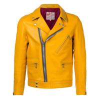 Addict Clothes Japan Jaqueta De Couro Com Zíper - Amarelo E Laranja