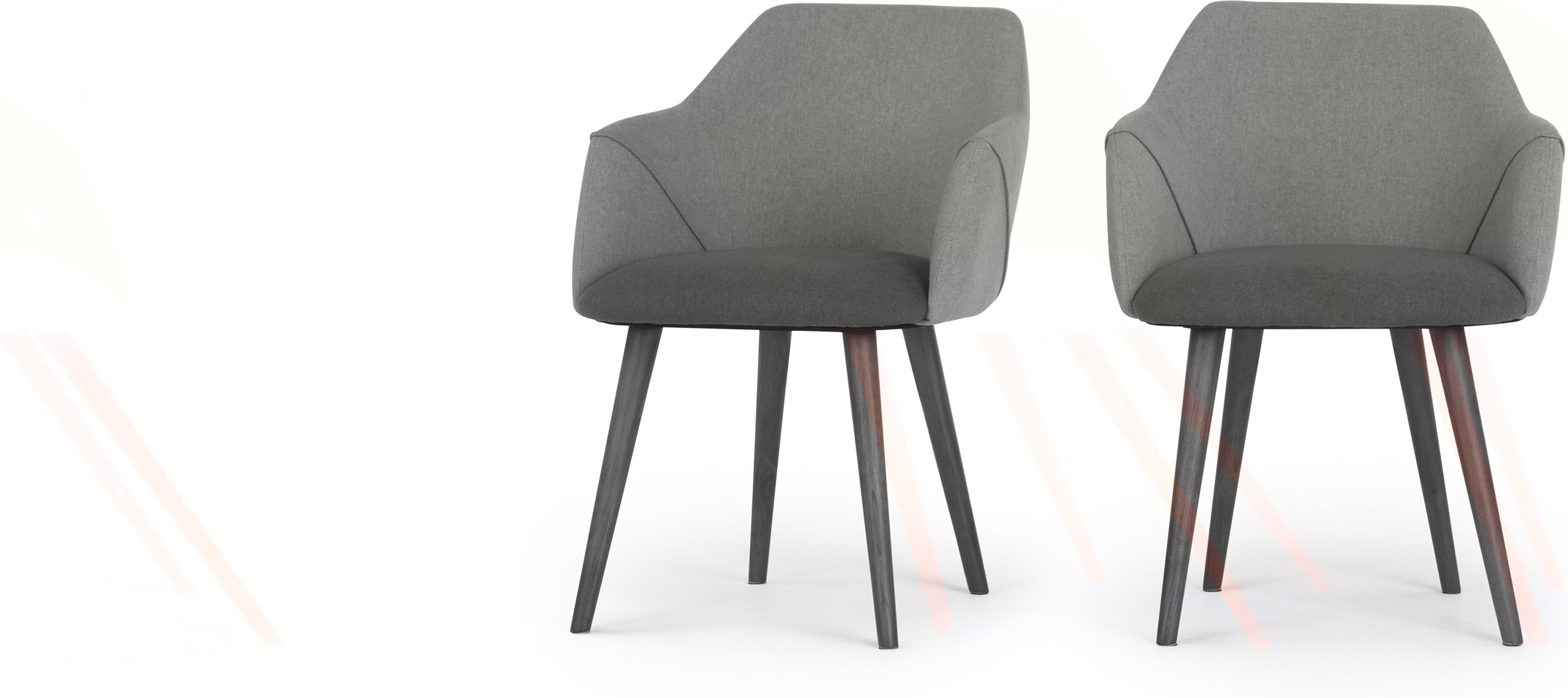 2 x Lule High Back Carver Dining Chairs Marl and Hail Grey With Walnut Legs