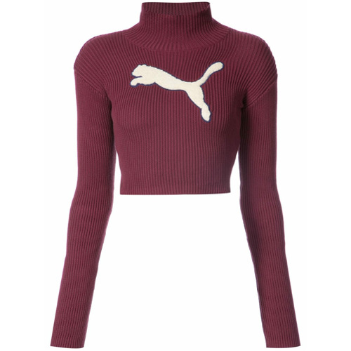 Fenty X Puma Suéter cropped gola alta - Vermelho