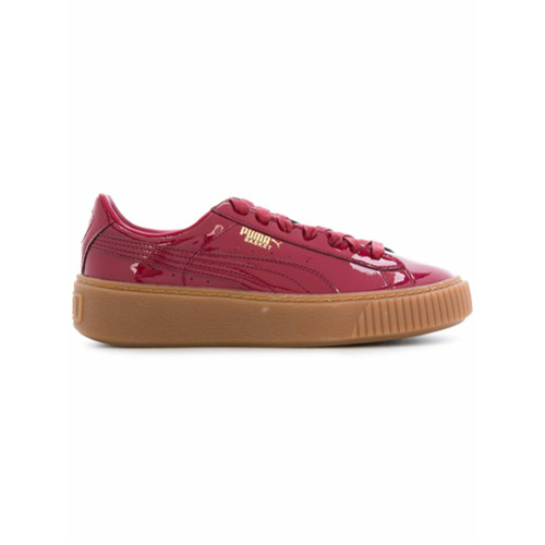 Puma Tênis de couro envernizado com plataforma 'Basket' - Vermelho