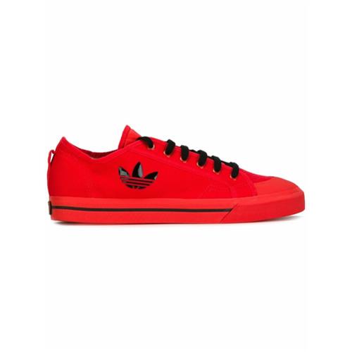 Adidas By Raf Simons Tênis de camurça com logo lateral - Vermelho